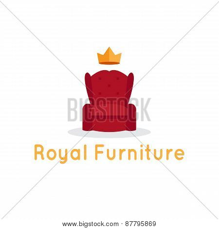 Vector modern flat furniture shop logo. Red armchair with crown