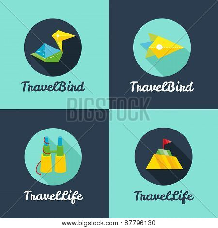 Vector flat travel agency logo templates set