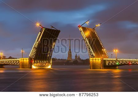Palace Bridge With Peter And Paul Fortress -  St. Petersburg White Nights, Russia.