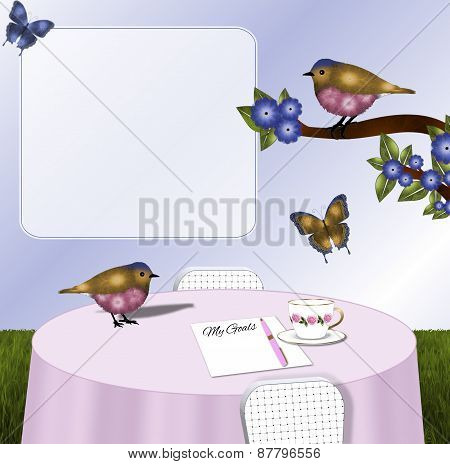 Pink and Gold Birds and Butterflies Tablescape Background
