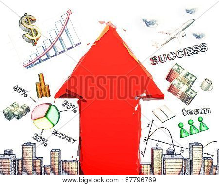 Business Scheme With Red Arrow