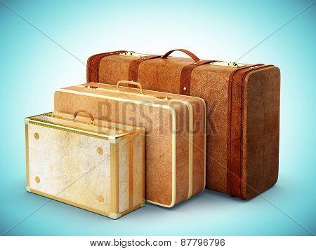 Three Brown Suitcase