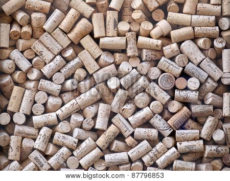 GRAZ, AUSTRIA - JANUARY 10, 2015: Used wine bottle corks on display in the window of a wine shop, Graz, Styria, Austria on January 10, 2015.