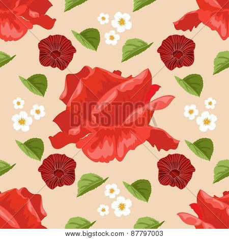 Seamless Background With Roses. Vector Illustration