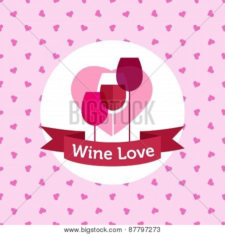 Vector wine shop or bar logo design with hearts seamless pattern