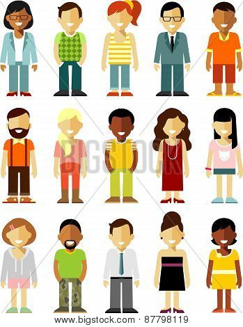 People characters stand set in flat style isolated on white background