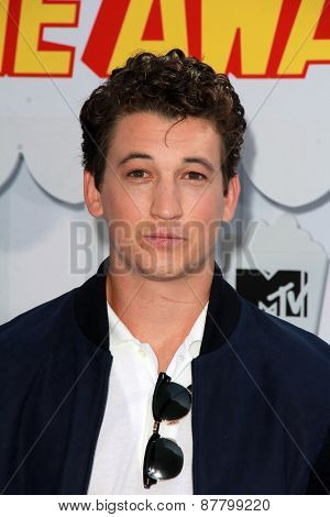 LOS ANGELES - FEB 11:  Miles Teller at the MTV Movie Awards 2015 at the Nokia Theater on April 11, 2015 in Los Angeles, CA