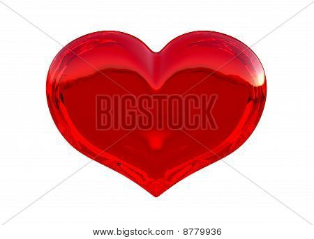 Semitransparent Red Heart Shape Isolated