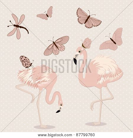 Cute Pink Flamingos And Butterflies