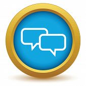 foto of conversation  - Gold conversation icon on a white background - JPG
