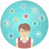 picture of geek  - Modern flat vector conceptual illustration of a geek boy with icons of his different educational interests - JPG