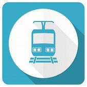foto of railroad-sign  - train blue flat icon public transport sign  - JPG