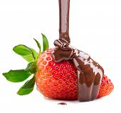 stock photo of sweet food  - Strawberry in chocolate isolated on white background - JPG