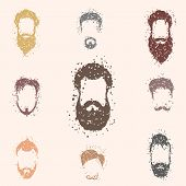 image of rogue  - Beards set with grunge texture design - JPG