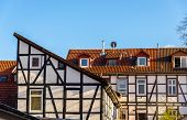 stock photo of timber  - Traditional timbered buildings in Gottingen  - JPG