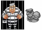foto of punishment  - Cartoon prisoner in jail behind the bars in striped uniform and robber in mask with sack  for crime and punishment concept design - JPG