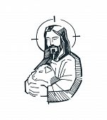 stock photo of jesus  - Hand drawn vector illustration or drawing of Jesus Good Shepherd - JPG