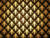 pic of fleur de lis  - dark brown background with gold - JPG