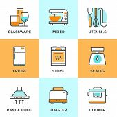 pic of mixer  - Line icons set with flat design elements of kitchen utensils glassware and home appliance fridge and cooker hood cooking on stove mixer and toaster - JPG