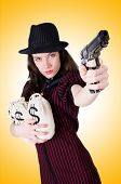 foto of gangster  - Woman gangster with handgun on white - JPG