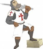 stock photo of crusader  - Illustration of the Crusader with sword in hand - JPG