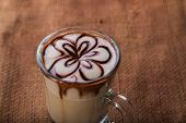 picture of latte  - Latte art coffee cup of cappuccino - JPG