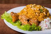 Постер, плакат: Eastern food Arab food Pilaf with meat