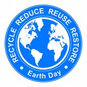 foto of reuse recycle  - Vector earth day illustration with recycle - JPG