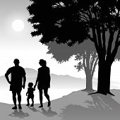 picture of children walking  - Silhouette of parents walking with child at sunset - JPG