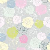 foto of mint-green  - Seamless vector floral pattern with pastel pink - JPG