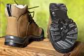 picture of soles  - detail of walking boots with grip sole - JPG