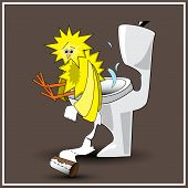 pic of defecate  - Funny illustration of chick on the pan - JPG