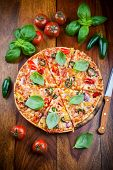 foto of jalapeno  - Tradition spanish pizza with chili and jalapenos - JPG