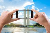 stock photo of brasilia  - Hand holding Smartphone in Brasilia - JPG