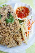 stock photo of catfish  - crispy catfish spicy salad and sweet sauce Thai food - JPG
