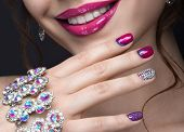 pic of nail-design  - Beautiful girl with a bright evening make - JPG