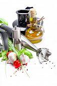 picture of blender  - Blender with fresh vegetables and herbs - JPG