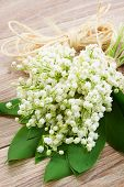 stock photo of lilly  - fresh lilly of the valley flowers posy  on wooden background - JPG