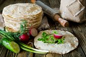 foto of piles  - Tortilla wraps with vegetables - JPG