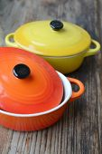 picture of pot roast  - Two little colorful cooking pots for julienne - JPG