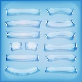 image of crystal glass  - Illustration of a set of comic styled glass ice or crystal banners and signs for ui game - JPG