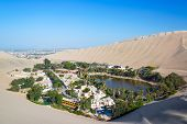picture of ica  - Oasis of Huacachina with Ica Peru in the background - JPG