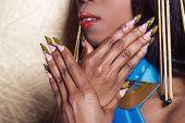 picture of long nails  - beautiful long designer nails  - JPG