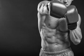 picture of boxing  - The man in boxing gloves - JPG