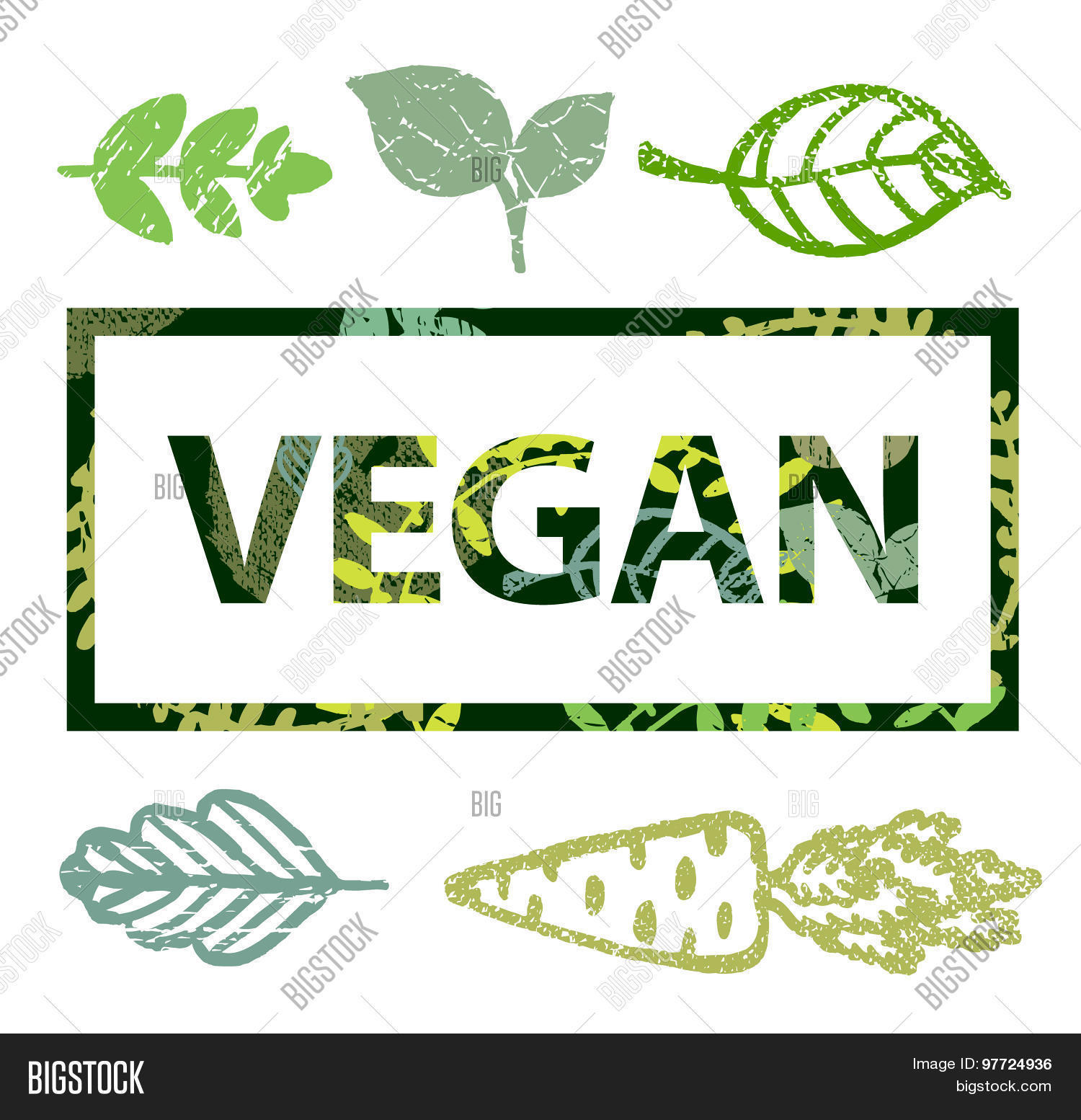 Vector Vegan Print Stamp T Shirt With Leaves Icons Stock