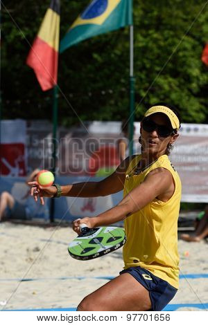 MOSCOW, RUSSIA - JULY 17, 2015: Joana Cortez of Brazil in the quarterfinal match of the Beach Tennis World Team Championship against France. Brazil won the match 2-1