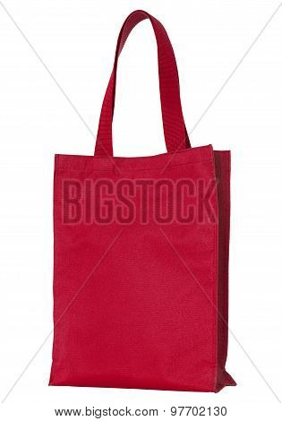Red Shopping Fabric Bag Isolated On White With Clipping Path