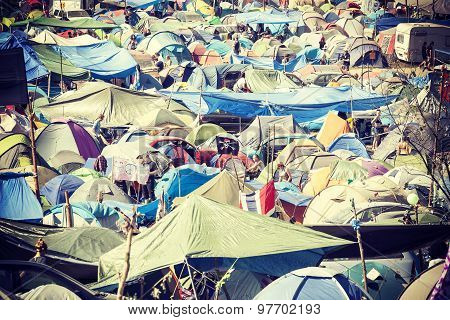 Tent Village On The 21Th Woodstock Festival Poland.