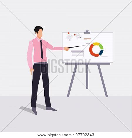 businessman presenting on paperboard and handle money bag