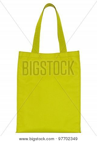 Yellow Shopping Fabric Bag Isolated On White With Clipping Path